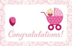Gelukwensen, pasgeboren babymeisje, prentbriefkaar, het Engels, vector vector illustratie