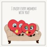 Gelukwensenkaart met harten voor de inzameling van de Valentijnskaartendag Stock Afbeeldingen