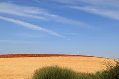 Gemähte und gepflogene Felder des Spanischen im Herbst Stockbild