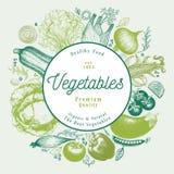 Gemüse übergibt gezogene Vektorillustration Retro- graviertes Artrahmendesign Sein kann Gebrauch für Menü, der Aufkleber und verp Stockfotografie