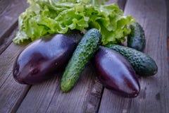 Gemüse Aubergine und Gurken Stockfotos