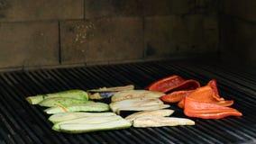 Gemüse auf dem Grill über niedriger Hitze für das Vorbereiten stock footage