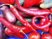 Gemüse auf einem blauen Hintergrund Stockfotos