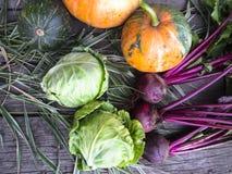 Gemüse auf einem hölzernen Hintergrund Stockbilder
