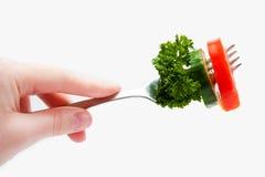 Gemüse auf einer Gabel lizenzfreie stockfotografie