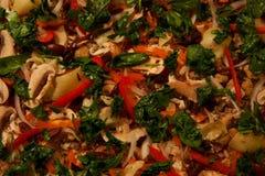 Gemüse auf einer Pizza Stockfotografie