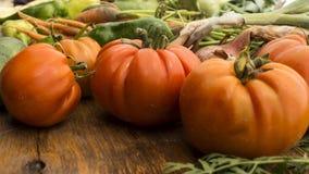 Gemüse auf hölzernem hackendem Vorstand Lizenzfreies Stockbild