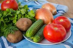 Gemüse auf hölzernem Hintergrund Stockbilder