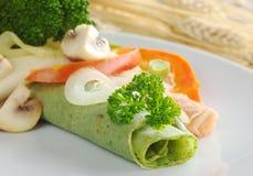 Gemüse auf Pfannkuchen Lizenzfreie Stockfotos