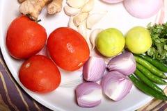 Gemüse auf Platte Stockfotografie