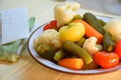 Gemüse auf Platte Stockfoto