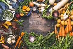 Gemüse, das Bestandteile für geschmackvolle vegetarische Teller kocht Karotte, Kartoffel, Zwiebel, Pilze, Knoblauch, Thymian, Pet Stockfotos