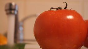 Gemüse, das im Spülbecken sich wäscht stock video footage