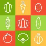 Gemüse in der Linie Art Style Photorealistic Ausschnittskizze Stockfoto