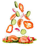 Gemüse der Schnittfall auf liegende Gemüse das Haufen Stockfotografie
