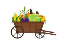 Gemüse in einem hölzernen Warenkorb Vektorhintergrund Stockfotos