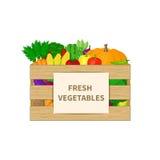 Gemüse in einer Holzkiste mit Frischgemüse simst Illustration des biologischen Lebensmittels Frischgemüse vom Bauernhof Natürlich Stockfotografie