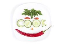 Gemüse in Form von Buchstaben auf einer Platte Lizenzfreie Stockfotografie