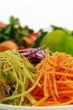Gemüse geschnitten auf einer Reibe für Salat stockfoto