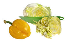 Gemüse mit grünem Messer Stockbild