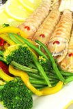 Gemüse mit Mantisgarnelen Stockfoto