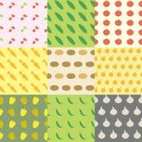 Gemüse-nahtloses Muster-Hintergrund-Set Lizenzfreies Stockfoto
