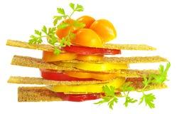 Gemüse schiebt mit der Tomate u. Pfeffer ein, die getrennt werden Lizenzfreie Stockfotografie
