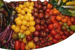Gemüse, Tomaten der unterschiedlichen Vielzahl, Auberginen, Porree, rötlich auf einem großen Behälter Konzept von Abstinenz vom F stockfoto
