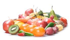 Gemüse u. Früchte getrennt stockbilder