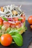 Gemüse und Babyaal- oder -aalweinstein Stockfotografie