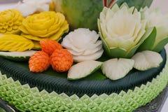 Gemüse und Frucht geschnitzt Lizenzfreie Stockbilder
