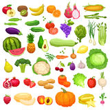 Gemüse-und Frucht-große Ikonen eingestellt in flache Art Lizenzfreie Stockfotos