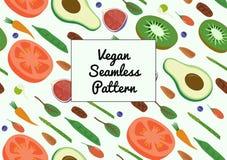 Gemüse-und Frucht-nahtloses diagonales Muster Eco Superfood-strengen Vegetariers organisches rohes Lizenzfreies Stockfoto