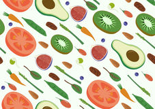 Gemüse-und Frucht-nahtloses diagonales Muster Eco Superfood-strengen Vegetariers organisches rohes Flache Vektor-Vegetarier-Kunst Stockfotografie