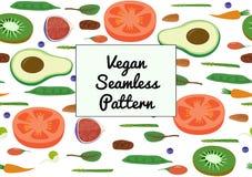 Gemüse-und Frucht-nahtloses horizontales Muster Eco Superfood-strengen Vegetariers organisches rohes Stockbild