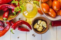 Gemüse und Soße adzhika Stockfotografie