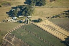 Gemüsebauernhof, Luftaufnahme Stockfotografie