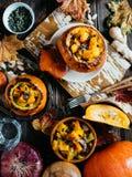 Gemüseeintopfgericht mit Kürbis Stockfotos