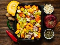 Gemüseeintopfgericht mit Kürbis Lizenzfreie Stockbilder
