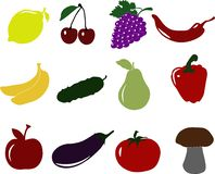 Gemüsefrucht-Ikonensatz Lizenzfreie Stockfotos