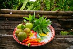 Gemüsegarten auf altem hölzernem Hintergrund Lizenzfreies Stockbild