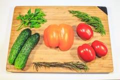 Gemüsegurkentomatengemüsepaprika-Petersiliendill auf einem hölzernen Brett stockbilder