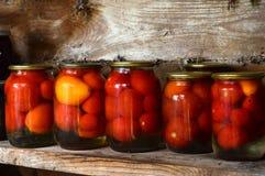 Gemüsehalophyte für Winter Essiggurken in den Glasgefäßen In Essig eingelegte Tomaten Lizenzfreie Stockfotos