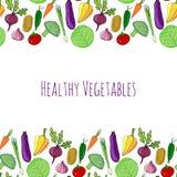 Gemüsehand gezeichneter bunter Hintergrund gesunde Lebensmitteldekorations-Vektorillustration Stockfotos