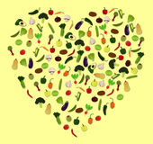 Gemüseherz-Ikonen-Vektor-Illustrationen Stockfoto