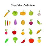 Gemüseikone des flachen Designs stellte mit schwarzer Kontur ein Lizenzfreie Stockbilder