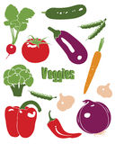 Gemüseikonen eingestellt Stockbilder