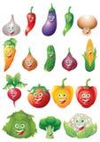 Gemüseikonen-Karikaturzeichensatz Lizenzfreie Stockbilder
