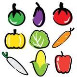 Gemüseikonen-Satz Lizenzfreies Stockfoto