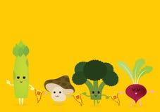 Gemüsekarikatur feiert vegetarisches Festival Lizenzfreie Stockbilder